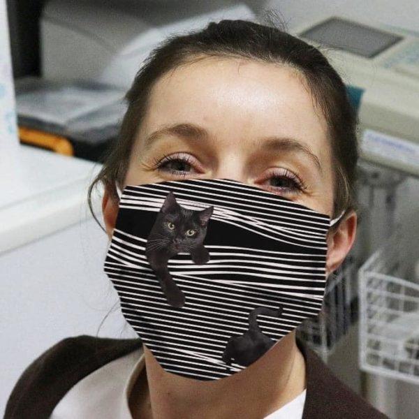 Black Cat Striped Cloth Face Mask