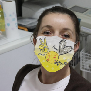 Peace Love Softball Cloth Face Mask