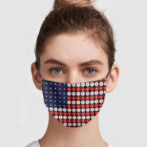 America Flag Daisy Face Mask