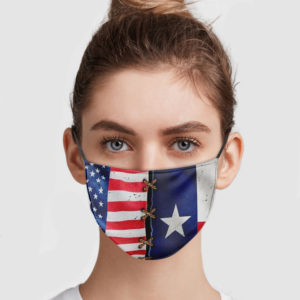America Flag And Texas Flag Face Mask