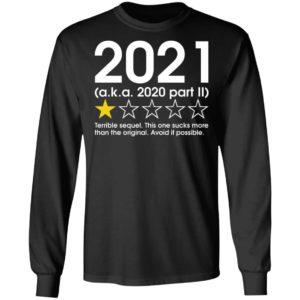 2021 1 Star Review Aka 2020 Part II Terrible Sequel Shirt